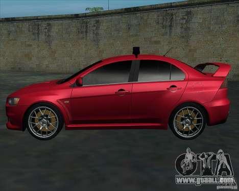 Mitsubishi Lancer Evolution X MR1 v2.0 for GTA San Andreas left view