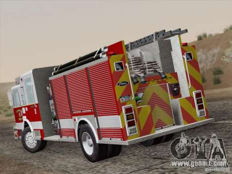 Pierce Pumpers. San Francisco Fire Departament for GTA San Andreas back left view