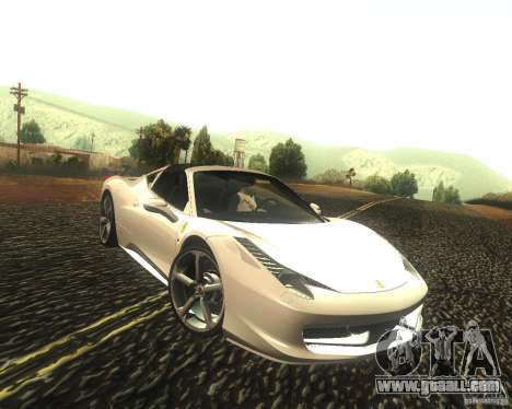 Ferrari 458 Italia Convertible for GTA San Andreas back view