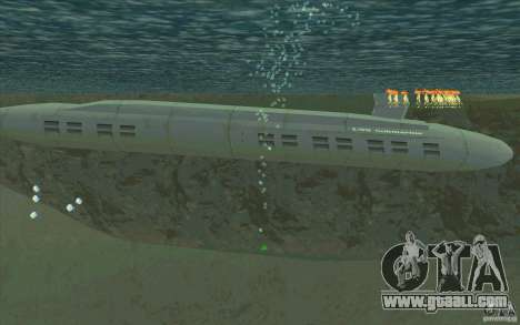 USS Submarine Beta for GTA San Andreas left view