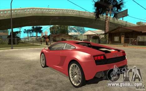 Lamborghini Gallardo LP550 Valentino Balboni for GTA San Andreas back left view