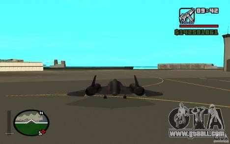 SR-71 Blackbird for GTA San Andreas back left view