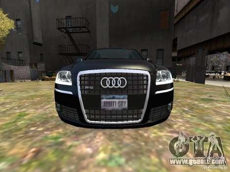 Audi A8L W12 for GTA 4 upper view