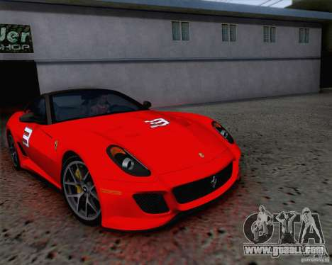 Ferrari 599 GTO 2011 v2.0 for GTA San Andreas bottom view