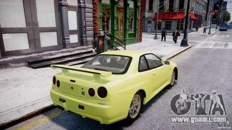 Nissan Skyline R-34 V-spec for GTA 4 wheels