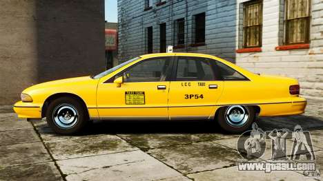 Chevrolet Caprice 1991 LCC Taxi for GTA 4 left view