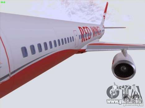 Tupolev Tu-204 Red Wings Airlines for GTA San Andreas bottom view