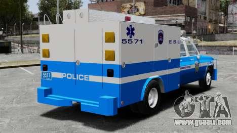 GMC C3500 NYPD ESU for GTA 4 back left view