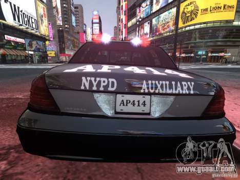 Ford Crown Victoria NYPD Auxiliary for GTA 4 right view
