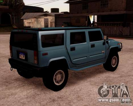 Hummer H2 SUV for GTA San Andreas back left view