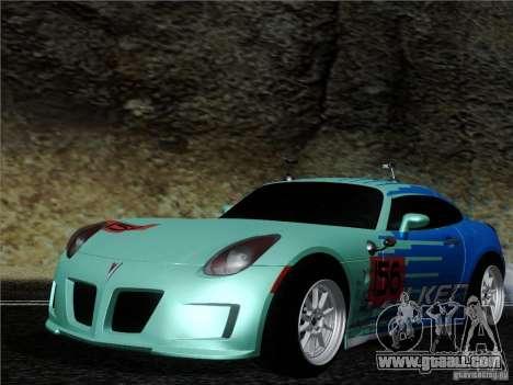 Pontiac Solstice Falken Tire for GTA San Andreas left view