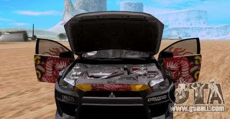 Mitsubishi Lancer Evolution RYO Vatanabe for GTA San Andreas back left view