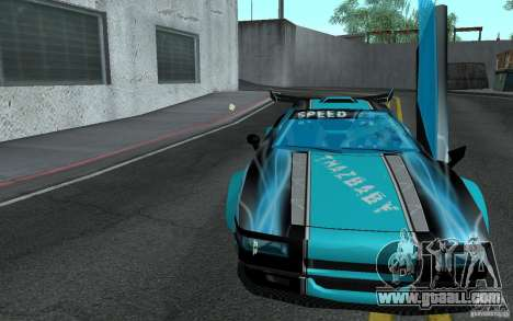 Baby blue Infernus for GTA San Andreas back view