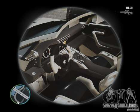 Lexus LF-A Roadster for GTA 4 inner view