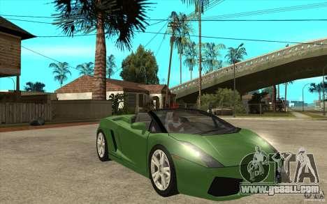Lamborghini Gallardo Spyder for GTA San Andreas back view