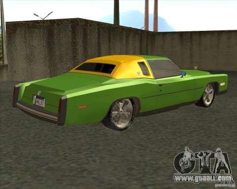 Cadillac Eldorado for GTA San Andreas bottom view