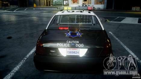 Ford Crown Victoria SFPD K9 Unit [ELS] for GTA 4 interior