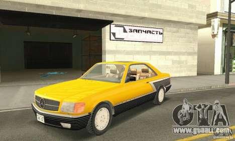 Mercedes-Benz W126 560SEC for GTA San Andreas upper view