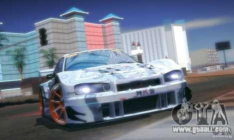 Nissan Skyline Touring R34 Blitz for GTA San Andreas inner view