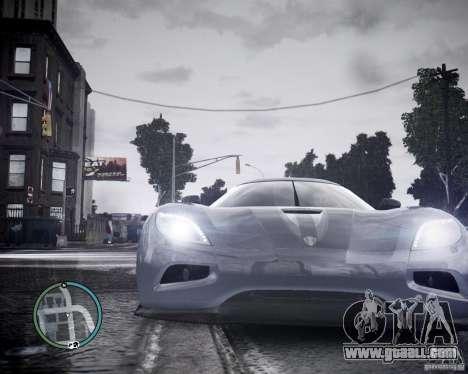 Koenigsegg Agera for GTA 4 back view