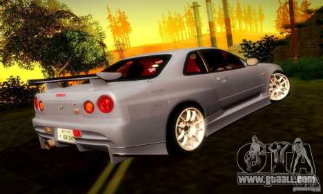 Nissan Skyline GT-R R34 for GTA San Andreas right view