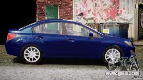Subaru Impreza Sedan 2012 for GTA 4 inner view