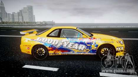 Nissan Skyline R34 GT-R Tezuka Goodyear D1 Drift for GTA 4 inner view