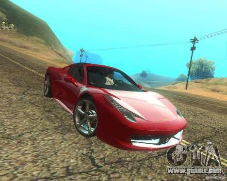 Ferrari 458 Italia Convertible for GTA San Andreas upper view