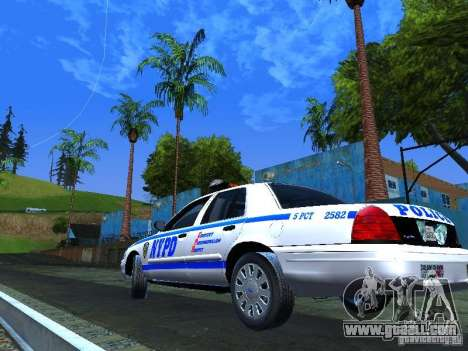 Ford Crown Victoria 2009 New York Police for GTA San Andreas back view