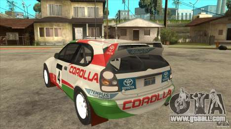 Toyota Corolla 1999 Rally Champion for GTA San Andreas back view