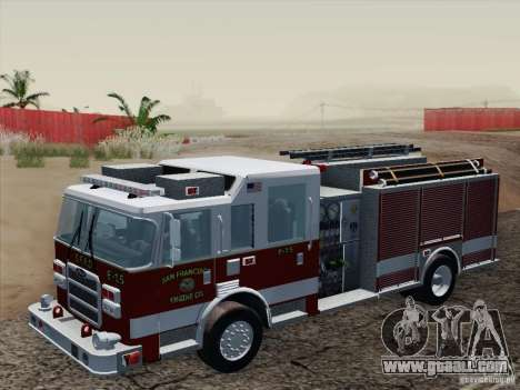 Pierce Pumpers. San Francisco Fire Departament for GTA San Andreas inner view