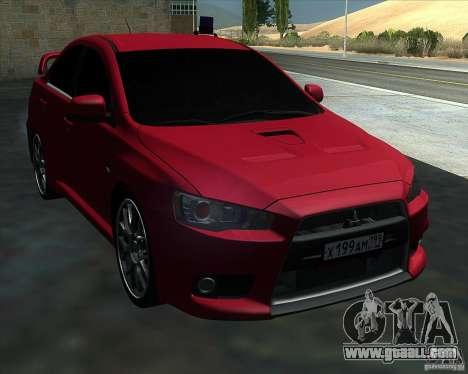 Mitsubishi Lancer Evolution X MR1 v2.0 for GTA San Andreas