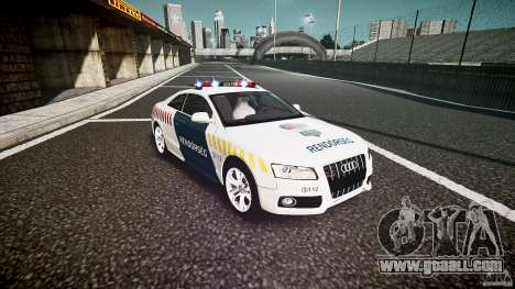 Audi S5 Hungarian Police Car white body for GTA 4 back view
