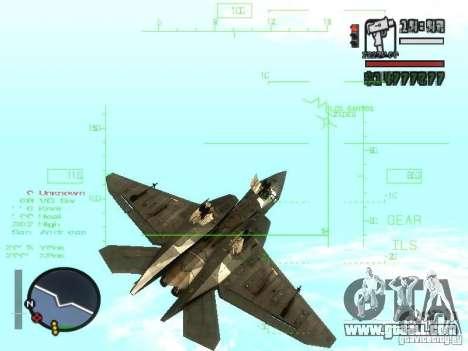 Xa-20 razorback for GTA San Andreas inner view