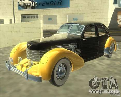 1937 Cord 812 Charged Beverly Sedan for GTA San Andreas back left view