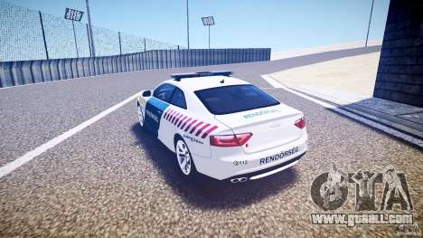 Audi S5 Hungarian Police Car white body for GTA 4 back left view