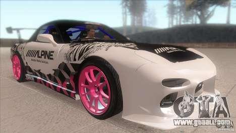 Mazda RX-7 FD K.Terej for GTA San Andreas back view