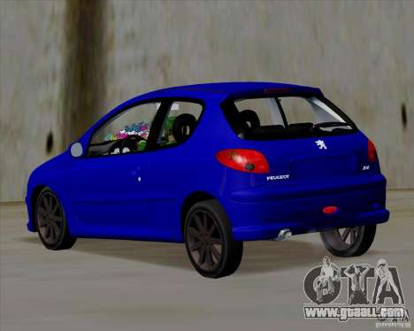 Peugeot 206 pollo style for GTA San Andreas back left view