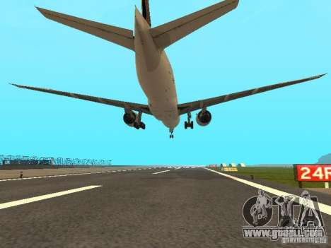 Boeing 777-200 Singapore Airlines for GTA San Andreas back view