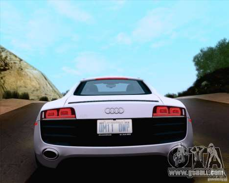 Audi R8 v10 2010 for GTA San Andreas inner view