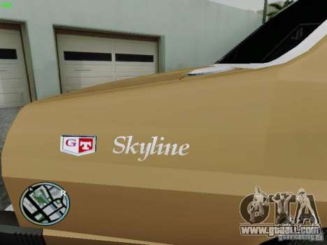 Nissan Skyline 2000GT C210 for GTA San Andreas back left view