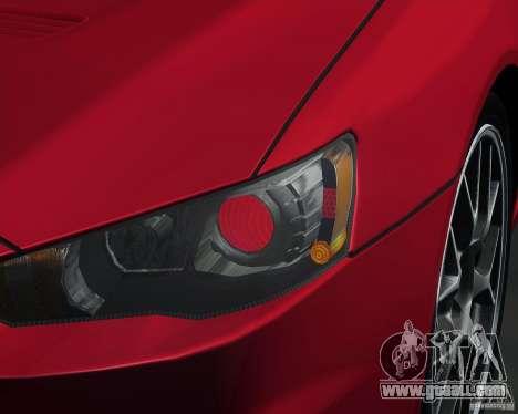 Mitsubishi Lancer Evolution X MR1 v2.0 for GTA San Andreas right view