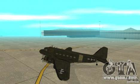 C-47 Skytrain for GTA San Andreas back left view