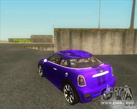 Mini Coupe 2011 Concept for GTA San Andreas back left view
