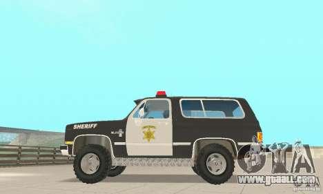 Chevrolet Blazer Sheriff Edition for GTA San Andreas back view