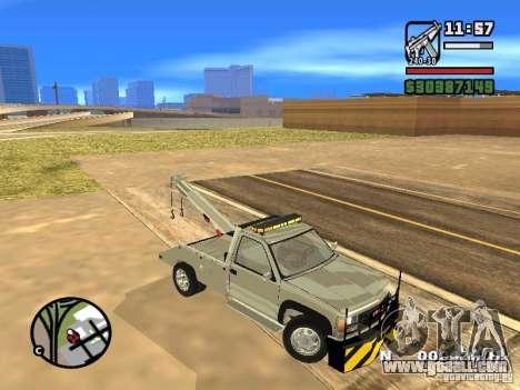 GMC Sierra Tow Truck for GTA San Andreas inner view