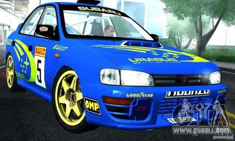 Subaru Impreza 1995 World Rally ChampionShip for GTA San Andreas back left view