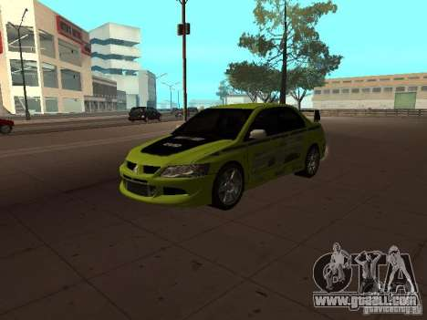 Mitsubishi Lancer Evolution 8 for GTA San Andreas bottom view