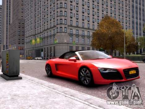 Audi R8 Spyder 5.2 FSI quattro V4 EPM for GTA 4 back left view