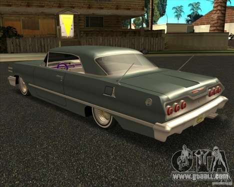 Chevrolet Impala 1963 lowrider for GTA San Andreas left view